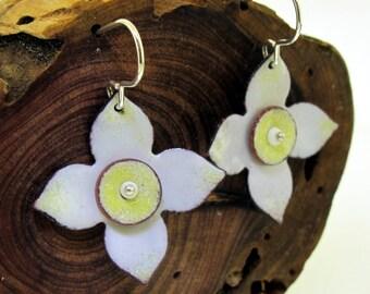 Flower Earrings, yellow and white flowers enameled by Kathryn Riechert