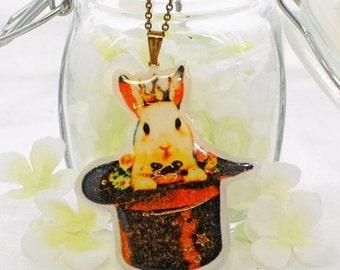 White Bunny Pendant Rabbit Pendant Arthur the King - Bunny Jewelry - Rabbit Necklace - Bunny Rabbit Inspired