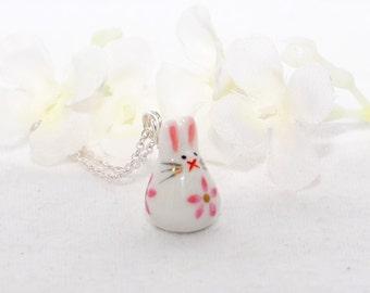 White Rabbit Pendant Necklace Itsy Bitsy Bunny - Bunny Necklace - Kawaii Bunny Rabbit - Rabbit Jewelry - Pet Bunny Rabbit - Bunny Pendant