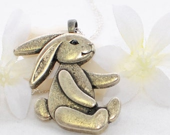 Bunny Pendant Rabbit Jewelry Necklace Velveteen Rabbit - Rabbit Pendant - Bunny Jewelry