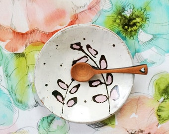 Pretty ceramic spoon rest-  dish with leaves - handmade illustrated spoon rest jewelry bowl - pink white black