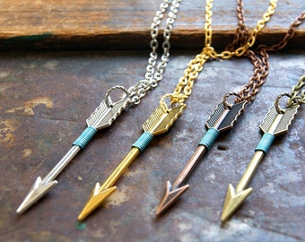 Aquamarine Wire Wrapped Arrow Necklace silver, gold, copper OR bronze arrow bohemian jewelry boho March birthstone color Gift for Pisces