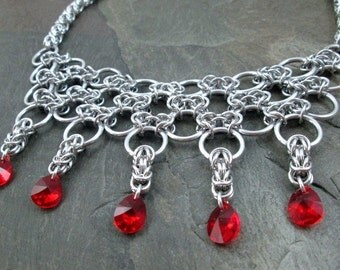 Chainmaille Necklace- Byzantine Weave - Red Swarovski Drops - Chainmail Jewelry - Wedding Necklace