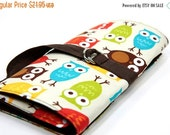 Sale 25% OFF Short Knitting Needle Organizer Case - URBAN OWLS - 24 brown pockets for circular, double pointed, interchangeable or travel