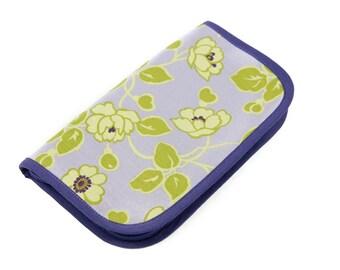 SALE 25% OFF Travel Zip Around Knitting Needle Case - Briar - purple pockets