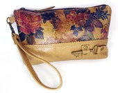 Floral Leather and Tan Leather Wristlet with Antique Brass Key - Romantic Roses Printed Leather Zipper Pouch