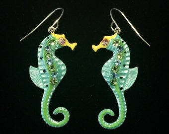Seahorse Earrings Fun Hand Painted in Pearlized Light Green and Lime Green