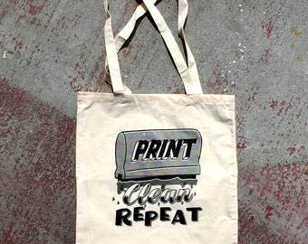 Print, Clean, Repeat Tote Bag