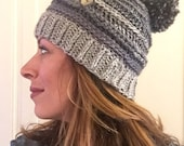 Ombre beanie with ribbed and braided detail and button detachable pom pom