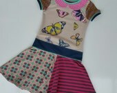 Size 6+ (48 inch height) upcycled girls dress with print butterflies