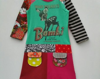 Size 8 (52 3/4 inch height) upcycled girls dress with print bambi