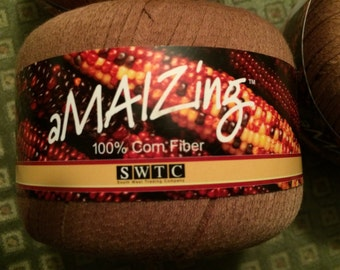 Five (5) Skeins-AMAIZING-SWTC-Corn Fiber Yarn-Brown
