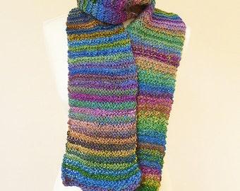Handknit long soft scarf made with handspun luxury yarn - READY TO SHIP