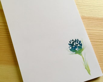 Floral Notepad Stationery - Watercolor Flower Notepad - Personalized or Blank Handmade Navy Blue Clover Notepad - 40 Sheet Notepad
