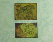 Dollhouse Miniature Set of Two Hobbit Maps