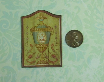Dollhouse Miniature Elegant Urn Wall Panel