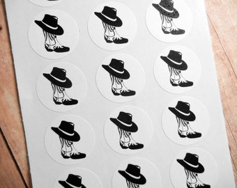 """Cowboy Boot Hat Western Themed Stickers 1"""" One Inch Round Seals - B&W, Sheets of 15 - by Blossom Arts"""