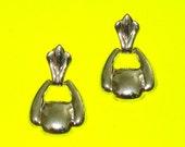 Vintage 1980s Silver Doorknocker Drop Earrings