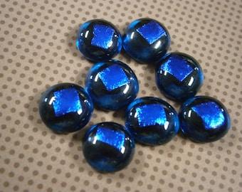 Dichroic Glass Cabochons, 8 Aqua Sapphire Dichroic Glass Cabs, Glass Cabochons by Willow Glass