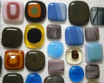Fused Glass Cabochons, 29 Clearance Sale Lot Cabochons, Glass Cabs, Sale, Willow Glass