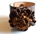 Wide Leather Cuff Wristband Bracelet with Flower