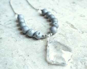 The Courtney- Silver Agate and Crystal Pendant Necklace