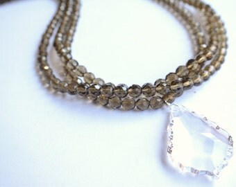 The Monaco- Long Smoky Quartz Glass Multi Strand Necklace