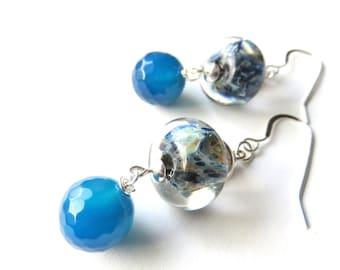 Agate Gemstone Dangle Earrings - Lampwork Glass - Boho Drop Earrings - Ocean Blue and Sterling Silver