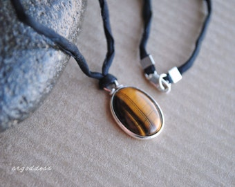 TIGERS EYE all sterling silver and rolled black silk cord 18 inch necklace by srgoddess