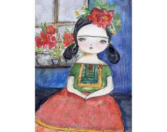 Frida sitting in the blue house - Giclee Reproduction Of Original Watercolor Painting By Danita Art (Paper Prints and ACEO Wood Mounted)