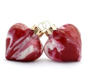 SALE Scarlet Red Glass Heart Christmas Keepsake - Glass Hand Painted Inside Marooon Garnet Gold and White