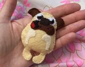 Pug hug brooch