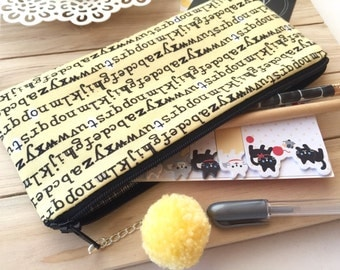 Typewriter - pencil case, planner pouch, pencil bag with pom pom pull