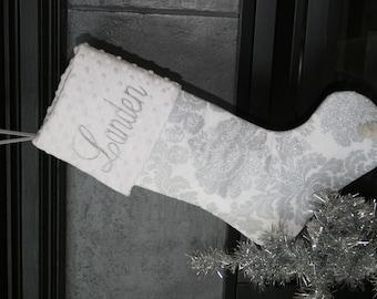 Personalized Metallic Damask Holidays Christmas Stocking