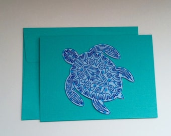 Handmade Tortoise Turtle Note Cards Free Domestic Shipping