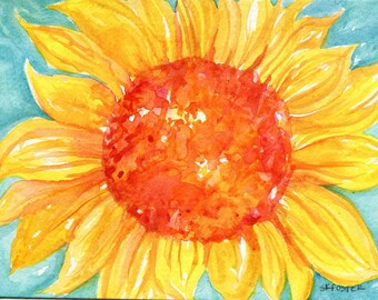 Sunflower original watercolor painting,  small orange sunflower on turquoise home decor, 5 x7  watercolor art, watercolors paintings