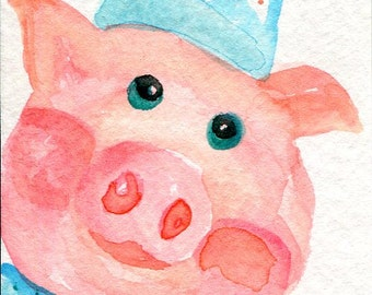 ACEO original Pig watercolor painting, cute piglet wearing bowtie, art card original painting, SharonFosterArt