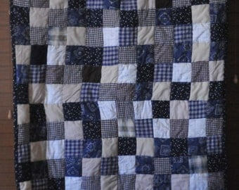 Adorable Country Themed Quilt - Navy, Tan, Cream and Brown #209