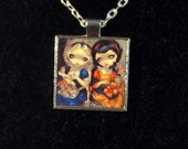 Alice and Snow White square metal necklace by Jasmine Becket-Griffith Art fairy tale in wonderland poisoned apple cheshire cat