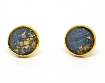 Gold Stud Earrings - Deep Gray Faceted Resin Earrings