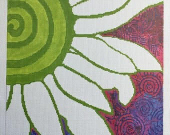 Original Fine Art Needlepoint 16 Count Mono Canvas Daisy Spiral Abstract Psychedelic Hippie Home Decor Wall Art Metaphysical Healing