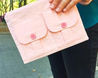 Pink Corduroy Wristlet, Smartphone Wristlet Wallet, Wristlet Purse, iPhone Wristlet, Pink Zipper Wallet, Fabric Pouch