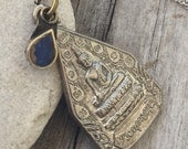 BLESSED Thai Buddha Pendant Necklace with GYPSY Lapis Charm and Sterling Silver