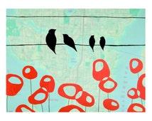 Lake Union Map Print // Seattle Art // Modern Print // Modern Decor // Modern Poppy Art // Bird Art // Travel Art // Rachel Austin Art 11x14