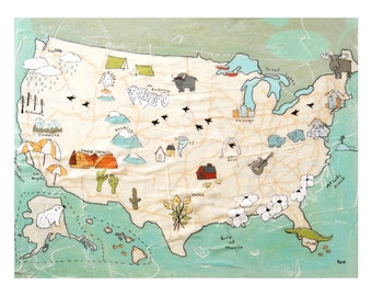 USA Map Print // Travel Art // Map Artwork // Modern Kid Art // Modern Decor // Modern Nursery // US Map // Rachel Austin Print 11x14  16x20