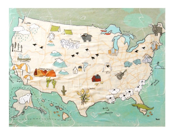 USA Map Print // Travel Art // Map Artwork // Modern Kid Art // Modern Decor // Modern Nursery // US Map // Rachel Austin Print 11x14  16x20