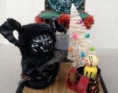 "Krampus Santas sidekick ""fireside chat""handmade display"