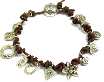 Leather, Hill Tribe Fine Silver Bracelet