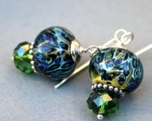 Lampwork Earrings, Boro Earrings, Sterling Silver Earrings, Dangle Earrings, Green Earrings