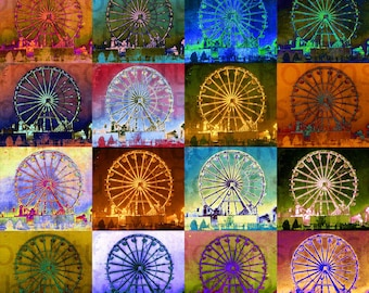 Ferris Wheel. Original Digital Photograph Art Print. Carnival Theme Park. Ride. Wall Art. Wall Decor. 16 FERRIS WHEELS by Mikel Robinson
